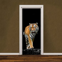 Wholesale Tigers Stickers - 2pcs set Ferocious Tiger Wall Stickers DIY Mural Bedroom Home Decor Poster PVC Waterproof Animal Door Sticker Lmitation 3D Removable Decal