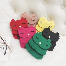 Wholesale Toddler Leather Bag - Fashion Cartoon 6 Color Girls Bags New Tassel Cute Cat Children Messenger Bag Toddler Kids Shoulder Bags Princess Girl PU Leather Bags A8034