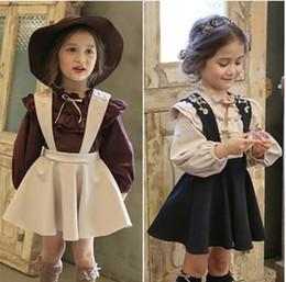 Wholesale wholesale school girl outfits - Korean Fashion Children Girls Flouncing Puff Long Sleeve Shirt Suspender Skirt school Outfits Set Little Princess Suits High Quality B4264