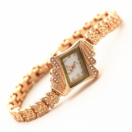 Wholesale Gold Plated Ladies Bracelets - Hot selling!Free shipping!gold plating band and case,crystal deco,irregular shape case,gerryda fashion woman lady quartz bracelet watches