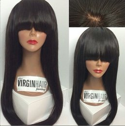 Wholesale Pure Silk Stockings - 10-28inch In Stock Long SIlky Straight Middle Part Silk Top Full Lace Wigs & Glueless Silk Base Full Lace WIg Silk Top Lace Front Wig