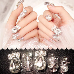 Wholesale Elegant Nail Tips - Wholesale- New 24 pieces(Pre-glue) Noble Elegant 3D Rhinestone Glitters Bling Decoration Long Fake false Acrylic Sticker Nail Tip With Glue