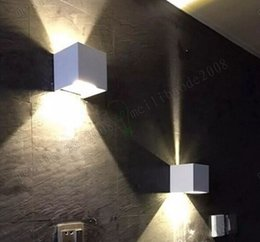 Wholesale Cube Art - New COB 7W 12W LED Aluminum Wall Sconces Adjustable Angle Surface Mounted Outdoor Cube Lamp Led Indoor Wall Lamp Up & Down Wall Lights MYY
