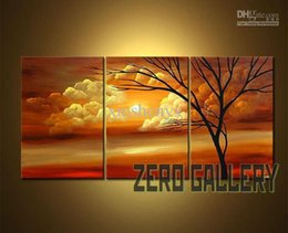 Wholesale Discounted Abstract Wall Art - Free shipping! discount Abstract modern landscape tree of life wall art Oil Painting Triptych View Large Wall Decor Canvas