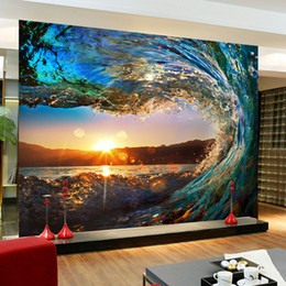 Wholesale Wholesale Murals - Wholesale- Custom 3D Photo Wallpaper Living Room Sofa Background Wallpaper 3D Stereoscopic Wall Mural Wallpaper Nature Scenery Wave Sunset