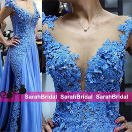 Wholesale Newest Style Evening Gown Dresses - Newest Design Blue Formal Evening Dresses Chiffon Sheer Applique Pearls Full Length 2016 Cheap Women Party Gowns Prom Wear Fairy Tale Style