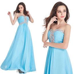 Wholesale Ice Stock - Stock A Line Prom Dresses Ice Blue 2017 Real Image Sweetheart Off the Shoulder Long Evening Party Gowns with Crystal Bead Cheap $34.9 CPS405