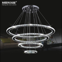 Wholesale Cristal Deco - Mirror Stainless Steel Crystal Diamond Lighting Fixtures 4 Rings led Pendant Lights Cristal Dinning Decorative Hanging Lamp