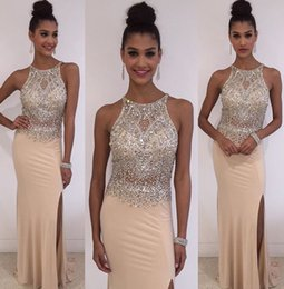 Wholesale Spandex Zipper Front - 2016 Sexy New Halter Champagne Jersey Mermaid Prom Dresses Split Illusion Beaded Top Floor Length Evening Dresses