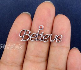 Wholesale Believe Letters - 60pcs-Antique Tibetan Silver Tone Believe Connector Pendant Charms Best Gifts For Lovely Connector DIY Jewelry Making