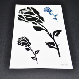 Wholesale Sexy Temporary Tattoo Sheet - Fashion Charm Rose Patterns Tattoo Stickers Waterproof Sexy Non-Toxic Flash Tattoo Body Art Temporary 3 Pieces Sheet
