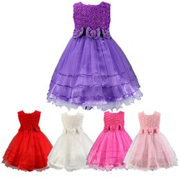Wholesale Princess Fashion Belts - PrettyBaby 5 colors kids girls princess dress sleeveless 3D flower + bow belt fashion design party dress 100pcs Lot free shipping