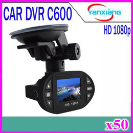 Wholesale Video Camera Chip - Mini Size HD 1920*1080P 12 IR LED Car Vehicle CAM Video Dash Camera C600 Recorder Russian Car DVR NOVATEK Chip Car Camera 50pcs YX-DV-02