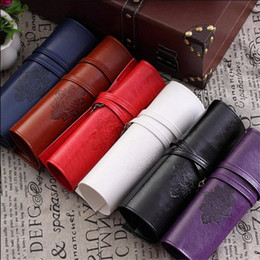 Wholesale Fold Up Pen - New Wholesale-Vintage Retro Luxury Roll Leather Make Up Cosmetic bag Pen Pencil Case Pouch Purse Bag for Schoo