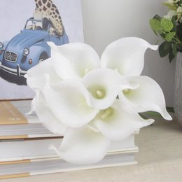 Wholesale Egyptian Calla Lily - Latex Callas 35cm Elegant Silicon Artificial Egyptian Calla Lily Alocasia Plumbea Flower for Wedding Bridal centerpieces Decorations