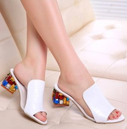 Wholesale Rhinestone sandals slippers New summer fish head diamond big yards sandals thick with female sandals