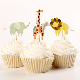 Wholesale Animal Party Cakes - Cute Zoo Animal Cupcake Picks Dinosaur Cupcake Toppers Kids Birthday Cake Favor Party Supplies 48pcs lot DEC070