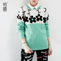 Wholesale Toyouth Autumn New Arrival Women O Neck Sweaters Flower Print Color Contrast Pullovers Long Sleeve Ladies UK