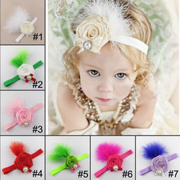 Wholesale Baby Girl Hair Bands Feathers - 7 Color Baby pearl feather flower Headbands Girls Cute Bow Hair Band Infant Lovely Headwrap Children Bowknot Elastic Accessories B001