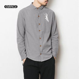 Wholesale Men Slim Shirts China - Wholesale- Plus Size Men Casual Shirt M-5XL China Style Embroidery Long Seeve Shirt Male Fashion Hiphop Slim Fit Shirt