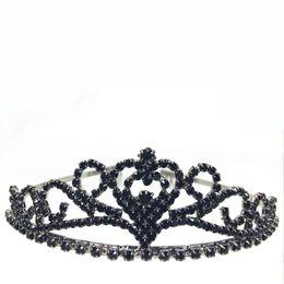 Wholesale Diamond Shape Rhinestone - 2016 new Hot Black gun black Dazzing Crystal Bridal Crown Rhinestone Heart Shaped Girl Tiara High Quality