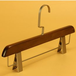 Wholesale Metal Hanger Stand - Luxury Anti-Skidding Natural Wooden Hanger With Clips For Pants Skirt Adult Clothes Clamp Stand Hanger ZA4849