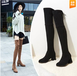 Wholesale Ladies Long Heel Shoes Fashion - 2017 Fashion women's boots stretch tall boots sexy women thigh high boots ladies high heels over the knee high long shoes
