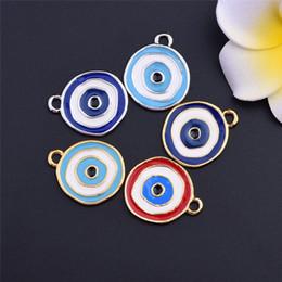 Wholesale Turkish Evil Eye Necklaces - Wholesale 20pcs lot Zinc Alloy Round Enamel Turkish Evil Eye Charm For Bracelet Necklace Handmade Craft DIY Free Shipping