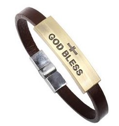 Wholesale Christian Jewelry Charms - Hot On Sale European and American Leather Bracelet Jewelry Titanium Steel Bracelet Christian (God Bless) Cross Bracelet