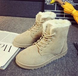 Wholesale Winter Short Thick Heel Shoes - 2017 autumn and winter snow boots shoes flat with students plus velvet thick short tube matte tide cotton shoes women's boots