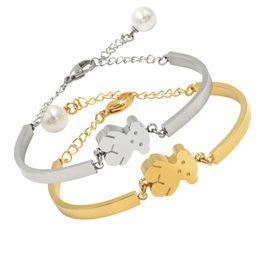 Wholesale Pearl Bracelet Designs - New 18k gold Stainless Steel pearl bead bears Charm Bangle Bracelet Original Design Hand Make For Women High Quality