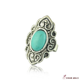 Wholesale Alloy Antique Rings Adjustable - Rings for women Vintage Turquoise Antique Silver Rings Adjustable Size Single Mixed Styles Gemstone Rings