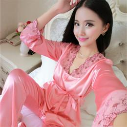 Wholesale Womens Summer Pyjamas - Wholesale- Womens Lace Silk Sleepwear Pajamas Sets Satin Spring Autumn Summer Long-sleeved Pyjama Leisure Loungewear Champagne Set M-MXL 05