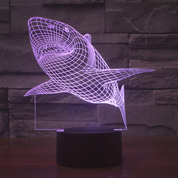 Usb flash 3d en Ligne-Livraison gratuite 7 couleurs changeantes charge USB MOVIE JAWS acrylique 3D LED veilleuse éclairée led lampe de table flash 3D LED lampes
