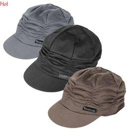 Wholesale Knit Caps Korean - Amazing Fashion Korean Women Army Military Cap Knit Top Hat SPleated Peaked Hat Vintage Floppy Outdoors Sun Hats Black Grey Wholesale 17494