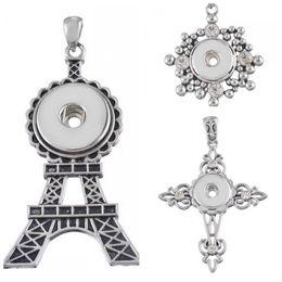 Wholesale Red Cross Diamond Necklace - Fashion Mix 3 Style Diamond Cross Shape Noosa Pendant Eiffel Tower Pendant Chunk Charms Pendant Fit 18mm Noosa Gift K2L