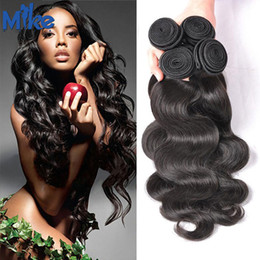Wholesale Indian Hair Cheap Dyeable - MikeHAIR 4 Bundles Brazilian Human Hair Weaves Body Wave Natural Color #1B Peruvian Malaysian Russian Cheap Hair Extension Dyeable Hair Weft