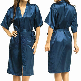 Wholesale Sexy Silk Gowns - Wholesale-Mens Womens Plus Size Long Satin Bath Robe Sexy Kimono Silk Bathrobe Men Peignoir Homme Dressing Gown for Men Summer Robes