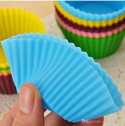 Wholesale Silica Gel Cake Mould - 7cm Silica gel Liners baking mold silicone muffin cup baking cups cake cups cupcake Kitchen Dining Bar