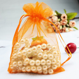 Wholesale Orange Favor Bags - Drawable Orange Bolsas Organza Drawstring Pouches Jewelry Party Small Wedding Favor Gift Bag Packaging Gift Candy Wrap Square 5X7cm 2X2.75''