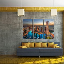Wholesale City Paintings - 3 Picture Combination City Landscape Paintings Wall Art Colorful Nightscape Dubai Marina Print on Canvas for Modern Home Decor