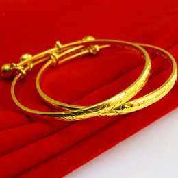Wholesale Bb Bracelet Gold - For a long time does not fade gold bracelets baby gold bracelet BB bracelet with bells on men and women send full moon birthday gift