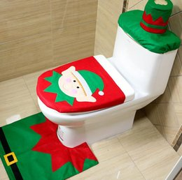 Wholesale Fancy Cover - Hot 1Set 3pc Fancy Happy Santa Toilet Seat Cover Rug Bathroom Set Decoration Rug Christmas Decoration Free Shipping