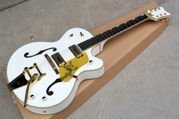 Wholesale Electric Guitar Hollow Body Gold - Wholesale Chinese AAAAA white Falcon 6120 Semi Hollow Body Jazz Electric Guitar With Tremolo Electric Guitar Luxury White Gold Binding