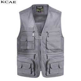 Wholesale Wholesale Men Vests - Wholesale- New Summer Casual Breathable Mesh Vest Men Fast Dry Photographer Sleeveless Jacket Multi-Pockets Outdoors Hike Hunt Fish Vest