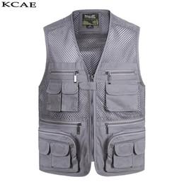 Wholesale Men Vests Cotton Outdoor - Wholesale- New Summer Casual Breathable Mesh Vest Men Fast Dry Photographer Sleeveless Jacket Multi-Pockets Outdoors Hike Hunt Fish Vest
