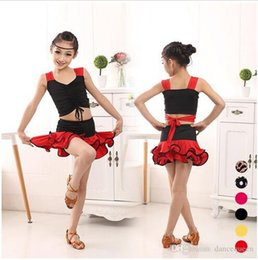 Wholesale Latin Dance Costume Silver - 2016 New Girl Latin Dance Dresses For Sale Children Fitness Clothes Dresses For Dancing 8 Colors Kids Dance Costumes