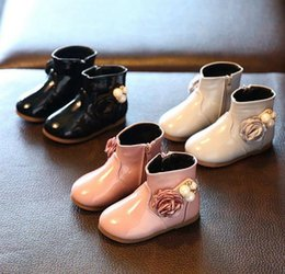 Wholesale Toddler Floral Boots - Girls Boots Winter Toddler Girl Boots Children Winter Shoes For Girls Shoe Patent Leather Flowers Pearl Princess Baby Girl Boots