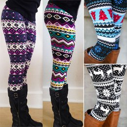 Wholesale Acrylic Snowflakes - Aztec Leggings For Women Stretchy Knit Christmas Snowflake Leggings Ankle Length Tribal Printed Casual Skinny Slim Legging