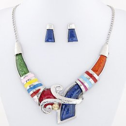 Wholesale Enamel Crystal Necklace - African Jewelry Set Crystal Pendant Statement Necklace Set Wedding Jewelry Set For Bridal Rhodium Plated Enamel Jewellery Sets